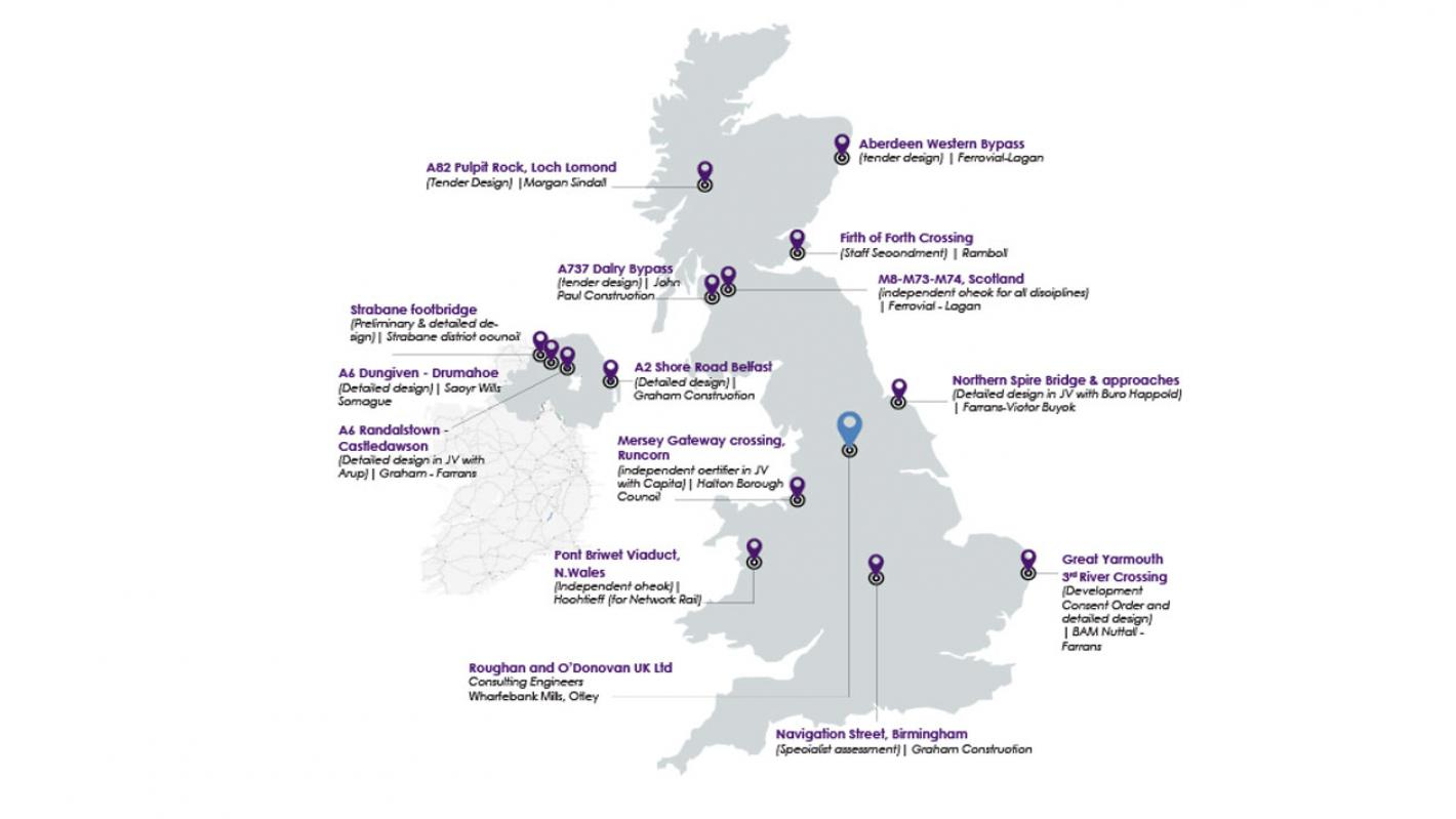 Map showing ROD portfolio of UK projects