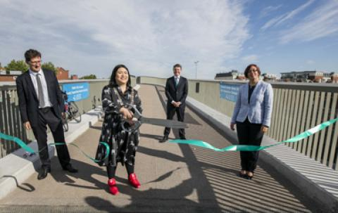 Image of the official opening of Phase two of the Royal Canal Cycleway